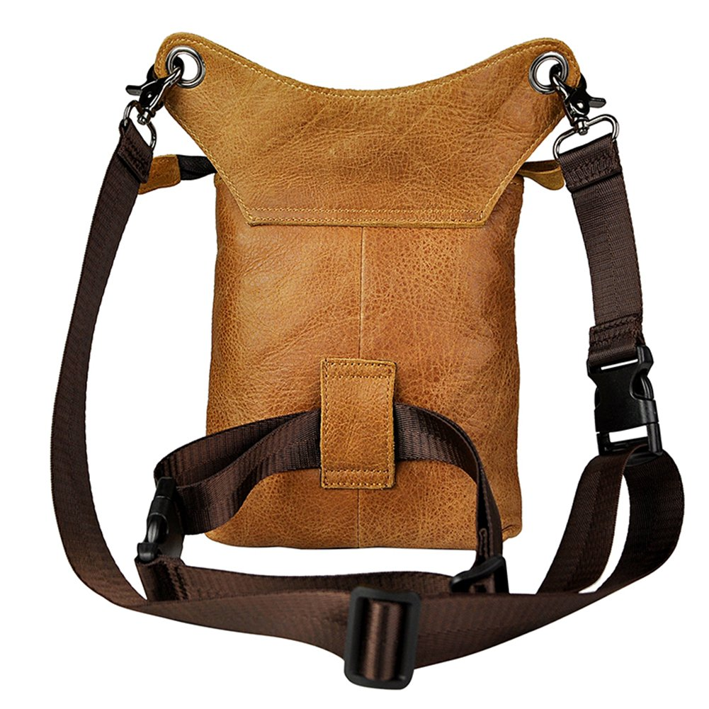 Genda 2Archer Mens Leather Messenger Riding Hip Waist Pack Drop Leg Cross Over Bag