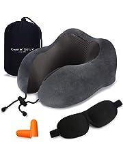 Cuscino da Viaggio Memory Foam - Cuscino per Il Collo a Forma di U con Supporto Cervicale per l'uso su Aereo e Uso Domestico (Grigio)