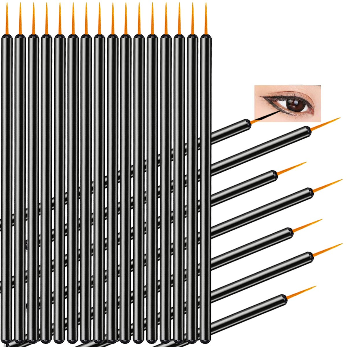 100 Pack Disposable Eyeliner Wands Applicator Makeup Tool Brushes Etercycle