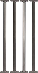 """PIPE DÉCOR 1"""" X 30"""" Table Legs with New Square Flanges Set of 4 Authentic Industrial Pipes for Custom Vintage Furniture, Tables, and Desks Rustic DIY KIT with Hardware (30 inch)"""
