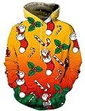Hgvoetty Unisex Santa Claus Hooded Sweatshirt Ugly