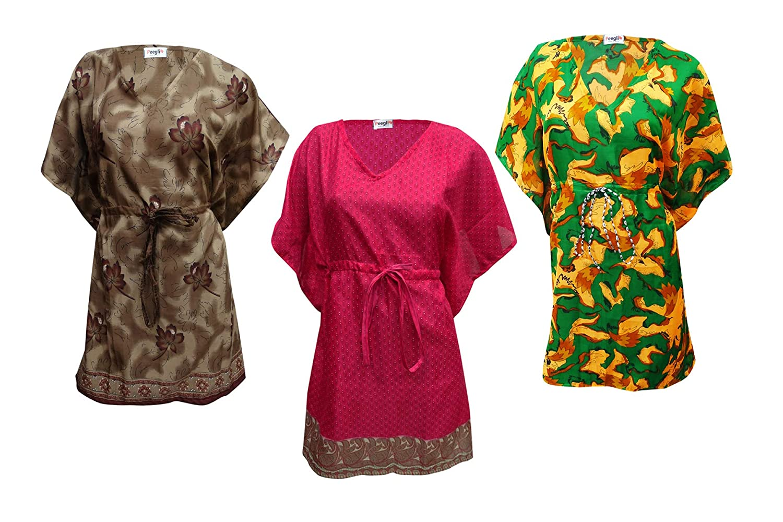 Peegli Women Vintage Style Kaftan Long Maxi 3 Pcs Loungewear Dresses Cover Up