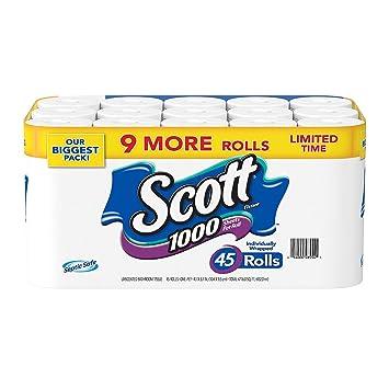 Scott 1000 Hojas por Rollo de Papel higiénico, 45 Rolls