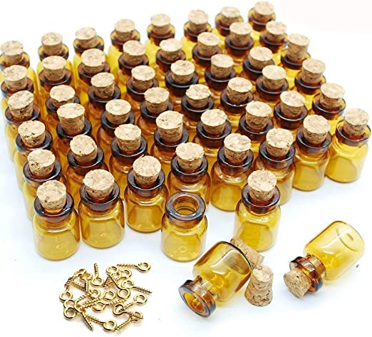5 x Tiny Miniature Glass Bottles With Corks /& Eye Hooks Mix For Jewellery Making