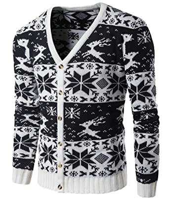 genericmen generic mens warm long sleeve v neck snowflake pattern classic christmas sweater cardigan black l - Classic Christmas Sweaters