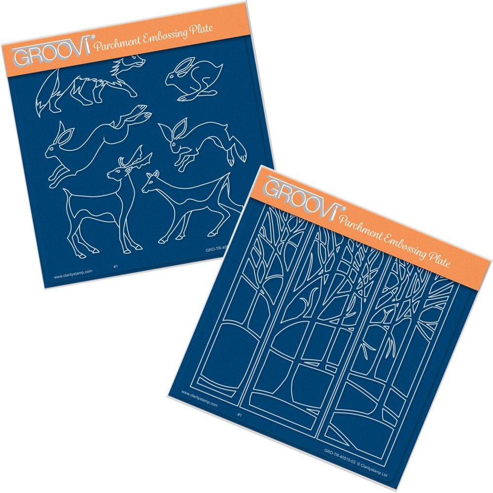 Groovi A5 Square Groovi Plates - Woodland Animals & Treescape (Set of 2) Clartiystamp