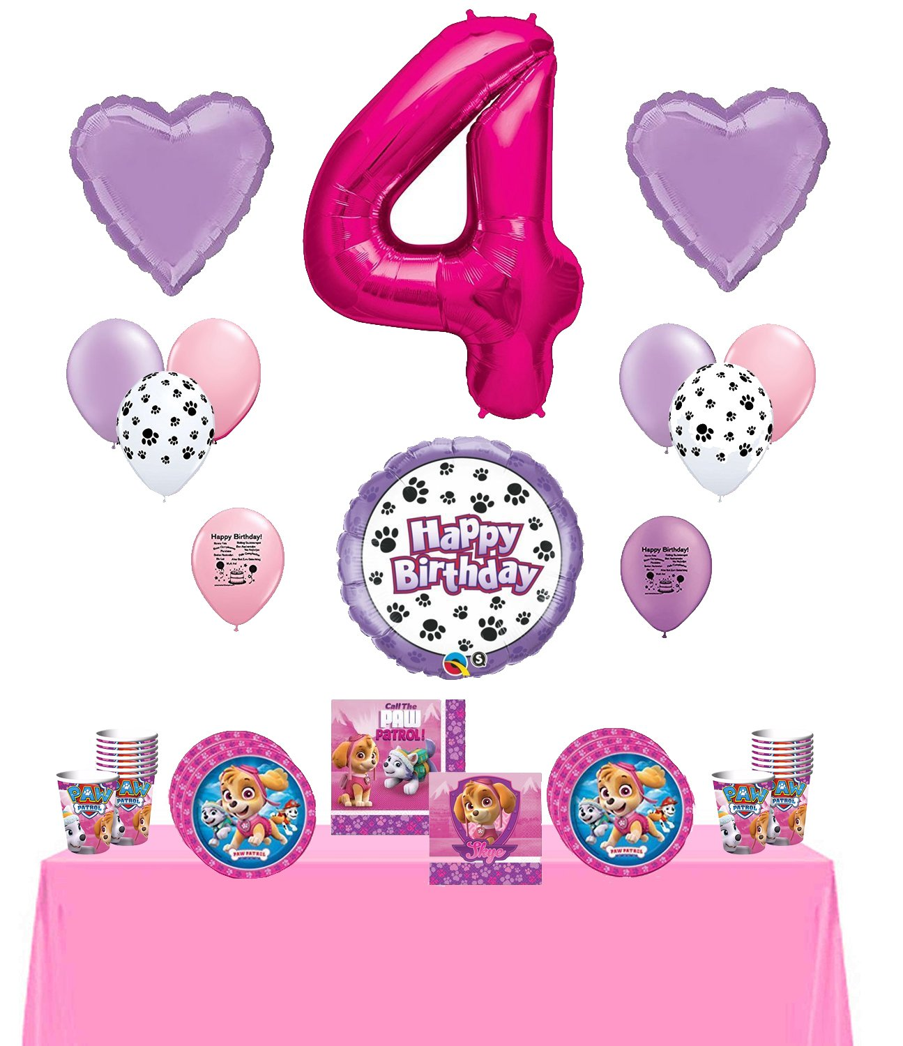 Amazon Skye Happy 4th Birthday Party Supply And Balloon Bundle Toys Games
