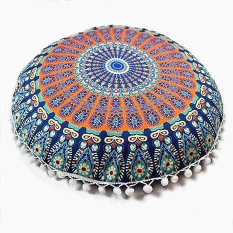 Oferta de Liquidación! Colchón Cubierta de edredón Indian Mandala Pillows Round Bohemian Cojín de la casa Almohadas Cubierta Cojines de Caja 🌸 ...
