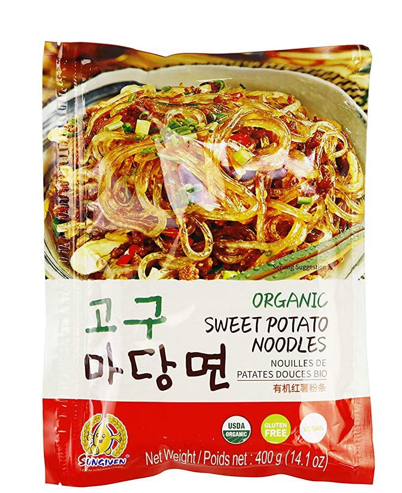 SUNGIVEN Organic Sweet Potato Glass Noodles, Korean Vermicelli Pasta, Fat-free and Gluten-free, 100% Sweet Potato Starch, No Additive, No Alum inside , 14.11 Ounce