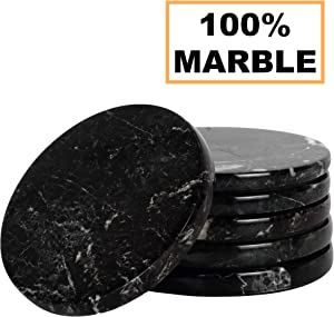 Coaster Set of 6 Cup Pad Handmade Marble Coffee Mug 3.5 Inches Office Coasters Set - Kitchen Caddy Drinkware, Spoon Rest Drinks Absorbent Coaster Sets - Non Glass Non agate - Table Décor (BLACK)