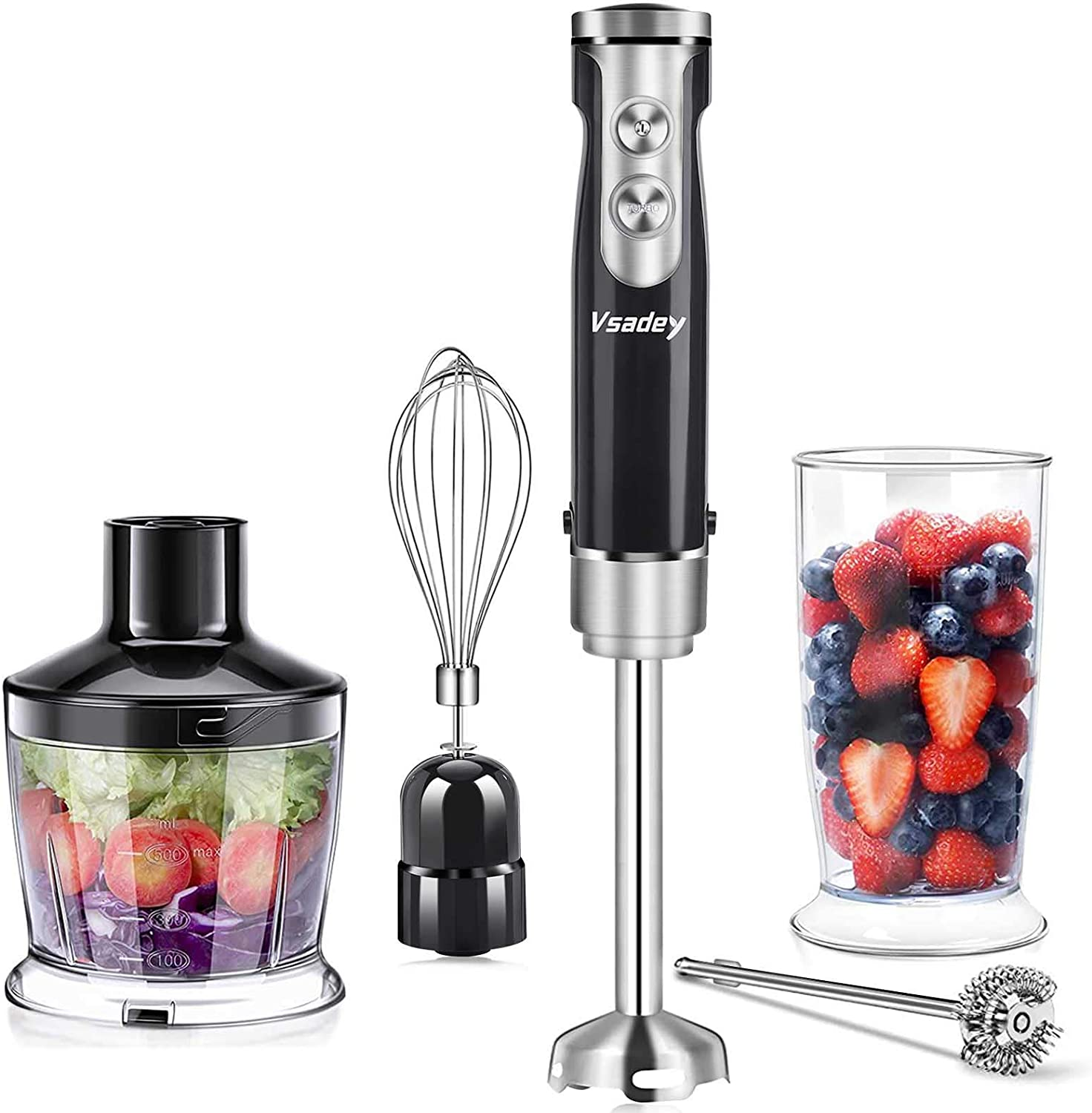 Immersion Hand Blender, VSADEY 5-in-1 9-Speed Stick Blender with 500ml Food Grinder, BPA-Free, 600ml Container, Milk Frother, Egg Whisk, Puree Infant Food, Smoothie, Sauce and Soup
