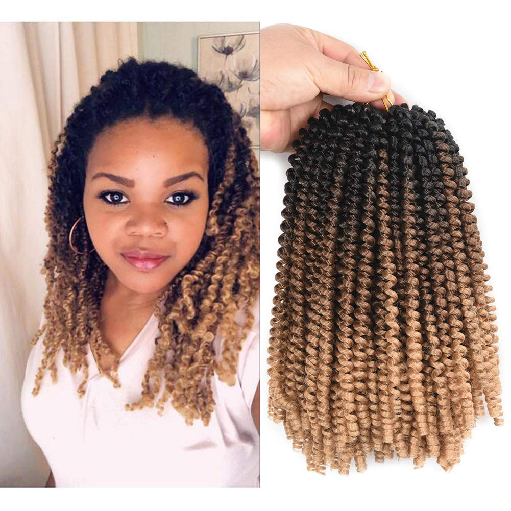 Refined Hair 3packs Spring Twist Crochet Braids 8Inch 30Strands Low temperature Fiber Ombre Synthetic Spring Curl Crochet Braid Braiding Hair EXtensions (Black/Brown/Light Brown) by Refined hair