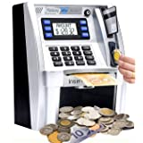 Canadian Dollars ATM Savings Piggy Money Bank Machine with Coins Identification for Kids,Electronic Digital Coin Bank Box wit