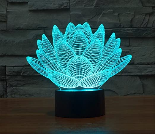 LOTOS® Blooming Lotus 3D Model Abstract Visual Optical Illusion 7 Color  Change Touch Switch Nightlight