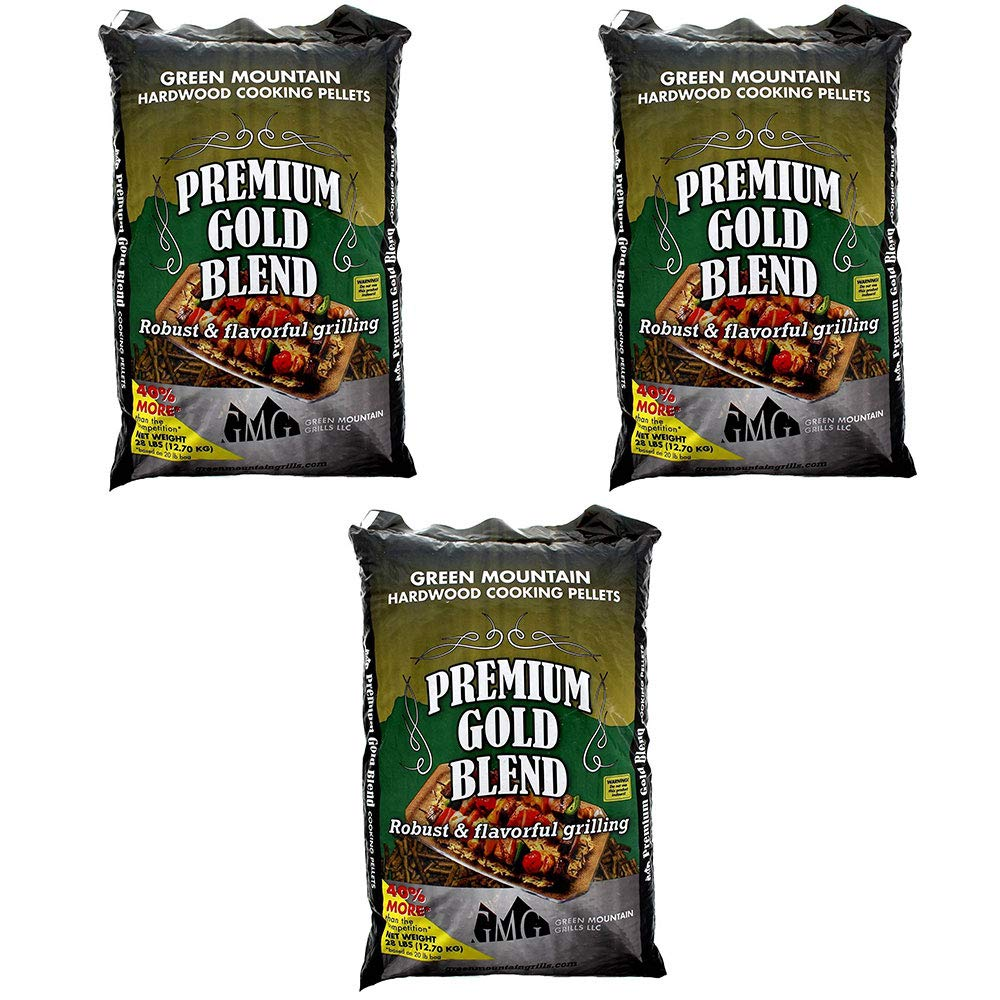 Green Mountain Grills Premium Gold Blend Pure Hardwood Grilling Cooking Pellets (3 Pack)