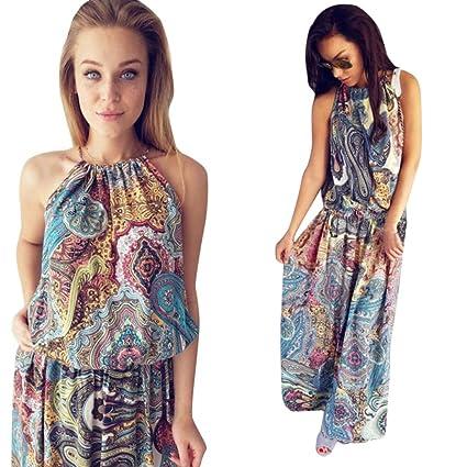 974081f27a Amazon.com: Women Sundress,Vintage Boho Print Halter Neck Skirt Beach Tunic Maxi  Dress Axchongery (Multicolor, L): Home & Kitchen