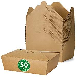 Bloomoon Take Out Food Containers 50 Pack 67 oz Disposable Microwaveable Kraft Paper Box - Leak Proof Grease Resistant Recyclable Lunch Box, Restaurant Togo Containers Catering Party Supplies