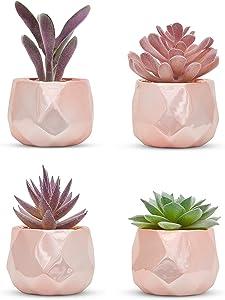 Nordik Set of 4 Desk Plants in Rose Gold - Office Decor for Women, Indoor, Living Room, Bedroom, Home and Desk Decor – Pink Faux Succulents Geometric Ceramic Planters