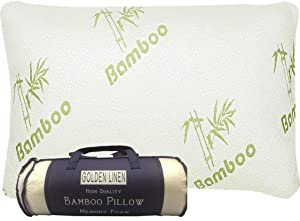 King Size Bamboo Pillow Memory Foam - Stay Cool Removable Cover with Zipper - Hotel Quality Hypoallergenic Pillow Relieves Snoring,migraines, Insomnia, Neck Pain and Tmj, Also Help with Asthema
