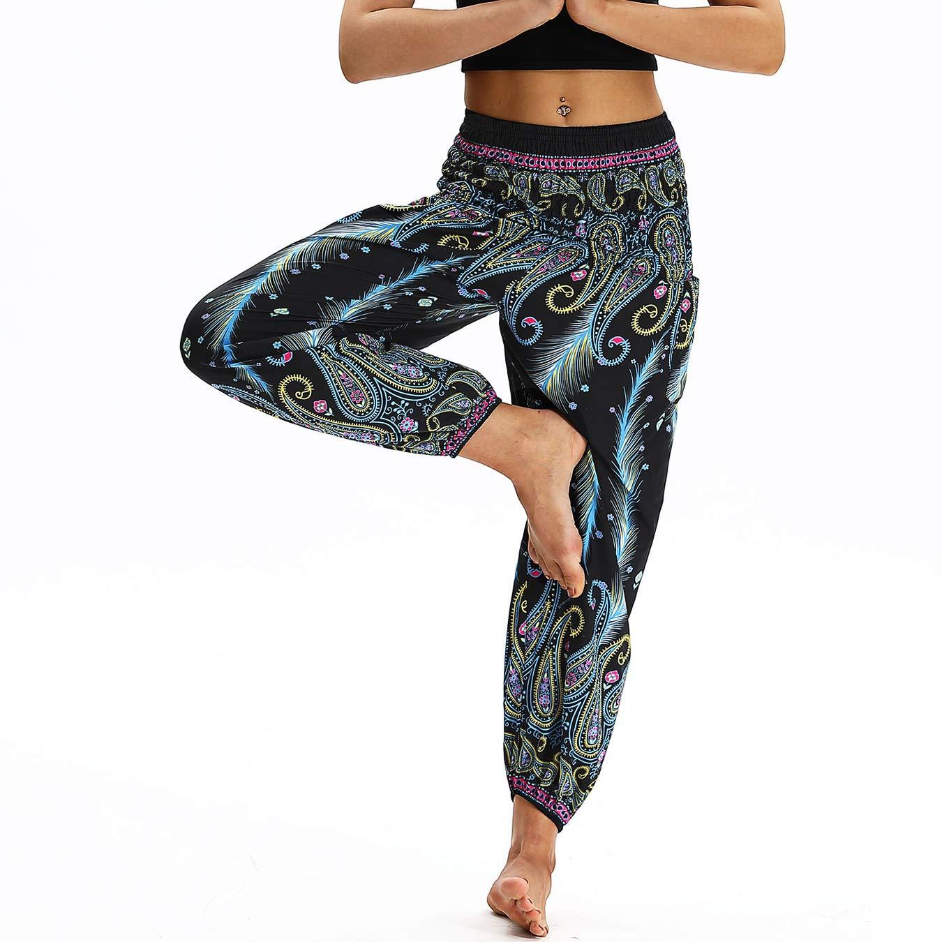 Nuofengkudu Mujer Pantalones Harem Tailandes Hippies Vintage Boho Flores Verano Alta Cintura Elastica Casual Danza Yoga Pants Bombachos Azul Claro Pavo A: ...