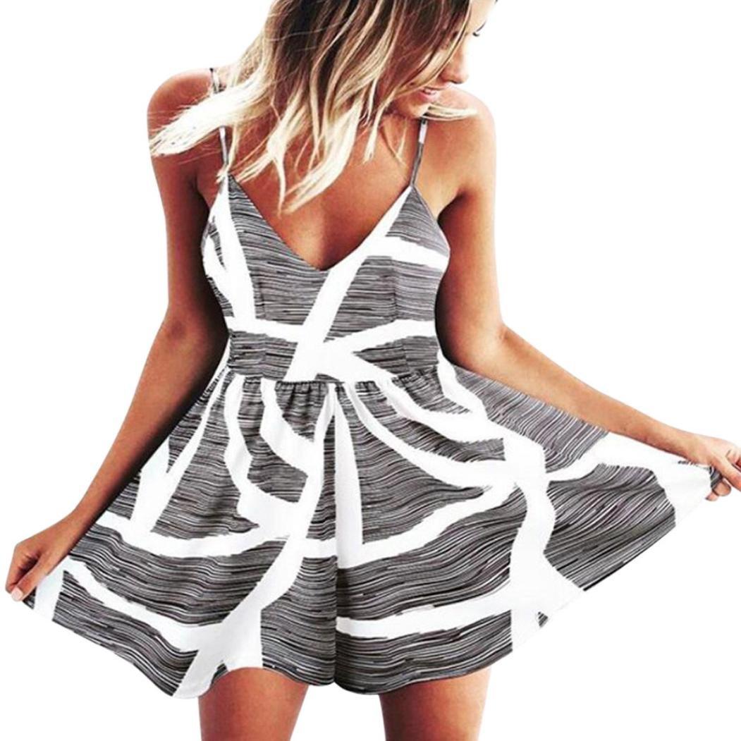 Damen Strapless Jumpsuit Urlaub Mini Playsuit Strand Strampler Kleider A Line Sommerkleider Blumenkleid Strandkleid Abendkleid Minikleid Partykleid Cocktailkleid