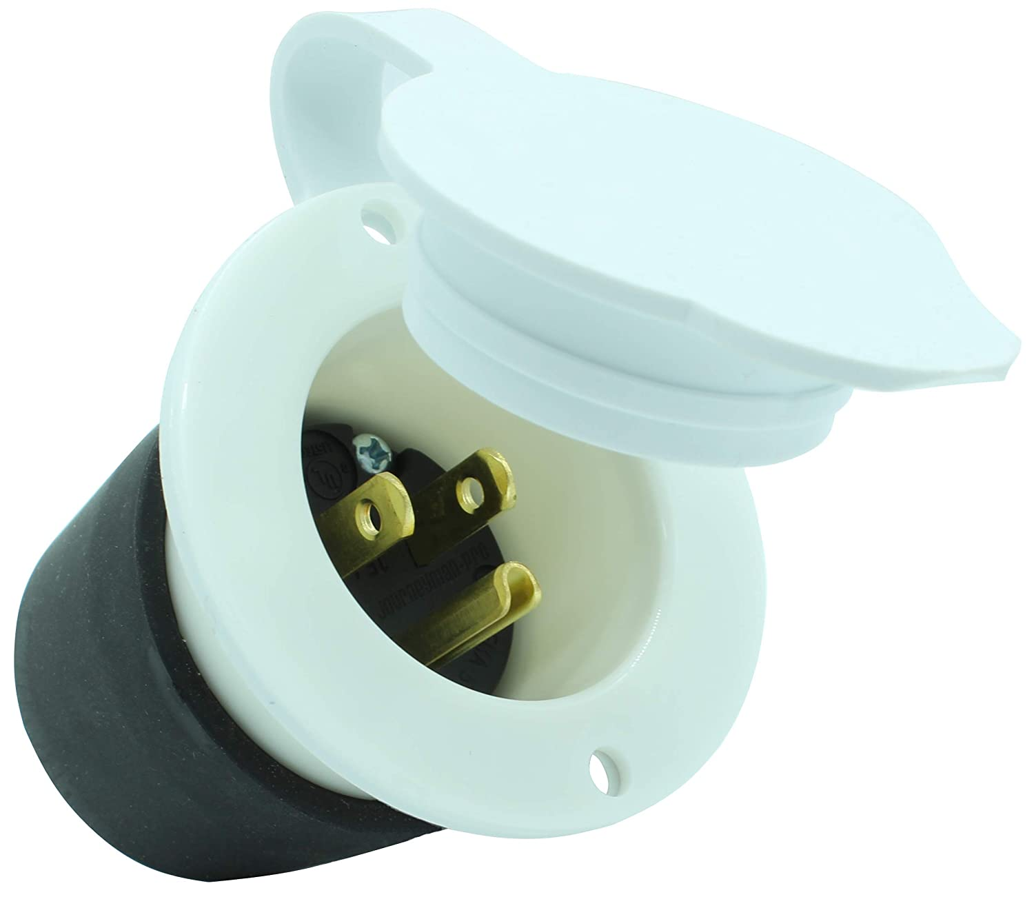Journeyman-Pro 5278W 15 Amp 120-125 Volt, NEMA 5-15 Flanged Inlet, WHITE Commercial Grade, 2 Pole-3 Wire, Straight Blade 110V/115V RV Replacement Plug Charger Receptacle (Front & Back Cover)