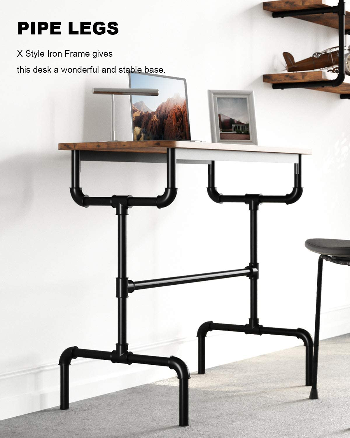 Dining Room Living Room Sturdy Metal Frame Easy Assembly IRONCK Industrial Bar Table 36 Inches Kitchen Pub Dining High Writing Table with Iron Pipe Legs for Narrow Space