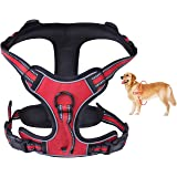 PETGDS No Pull Dog Harness, Front Clip Pet Vest Harness with Handle Adjustable Padded Harness Easy Control Puppy Harness Breathable Mesh Lightweight for Outdoor Training Walking-Black