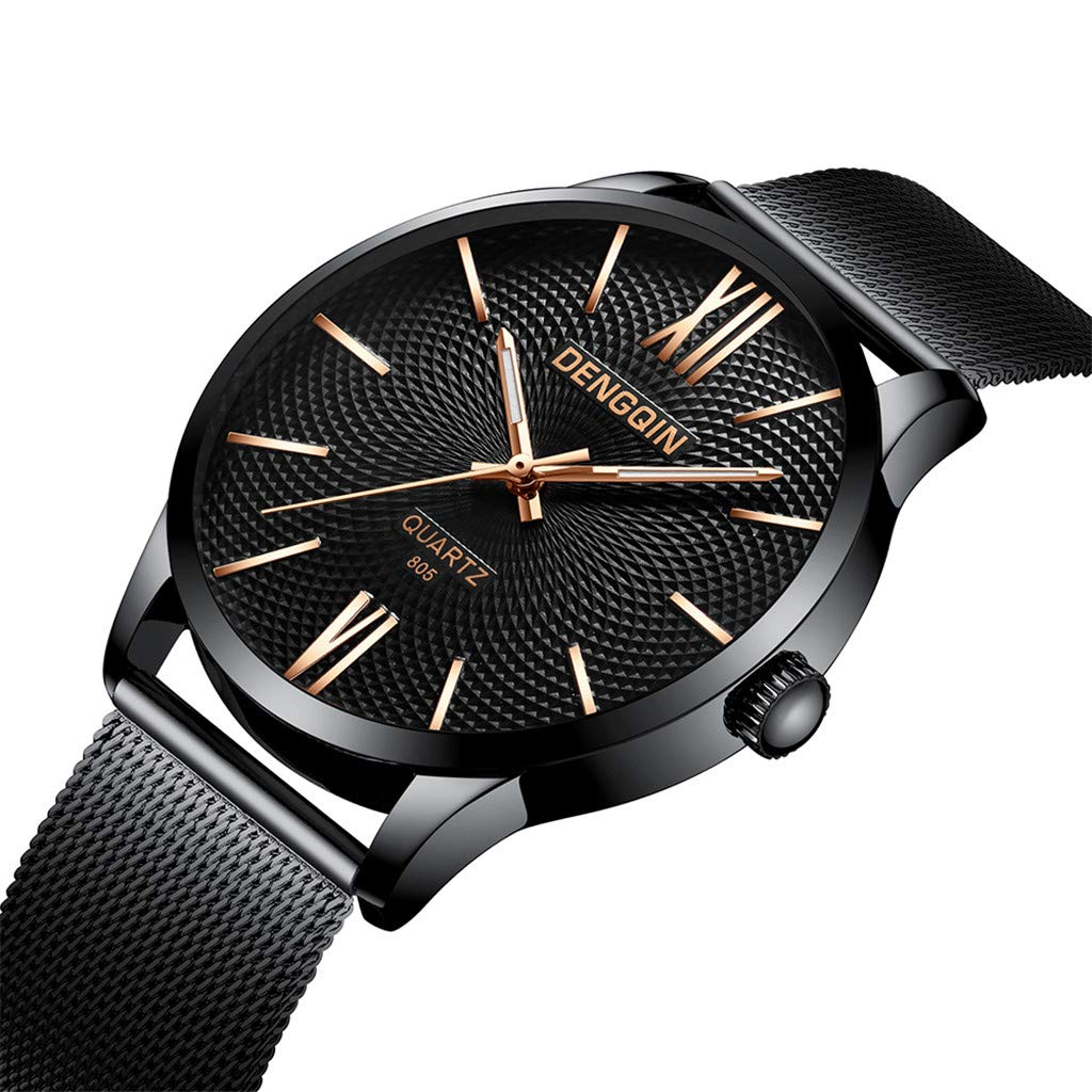 Staron  Men's Watches Luxury Fashion Analog Casual Dress 12-Hour Dial Sport Military Quartz Stainless Steel Dial Wrist Watches for Men Milanese Mesh Band (A)