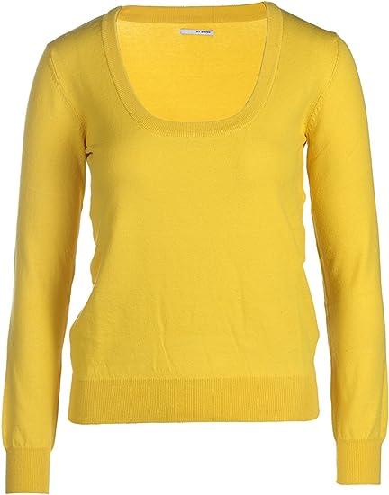 TALLA XL. MY BASIC Jersey Stretch Cuello Redondo en Algodon para Mujer