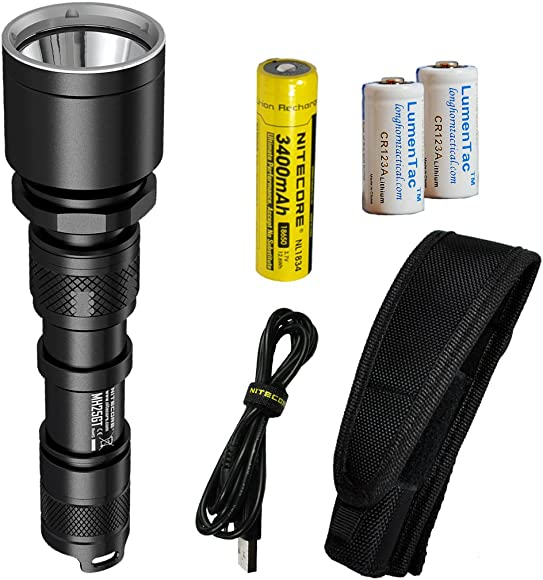Nitecore MH25GT 1000 Lumen USB Rechargeable LED Flashlight – Long Range Throwing with 2X CR123A Batteries Upgrade for MH25