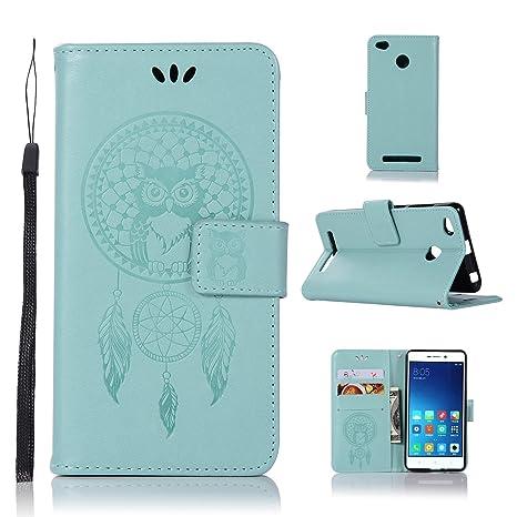 pinlu® Funda para Xiaomi Redmi 3S / Redmi 3 Pro Precioso Flip Billetera Carcasa PU Leather con Ranuras de Soporte Función Cierre Magnético Diseño Búho ...