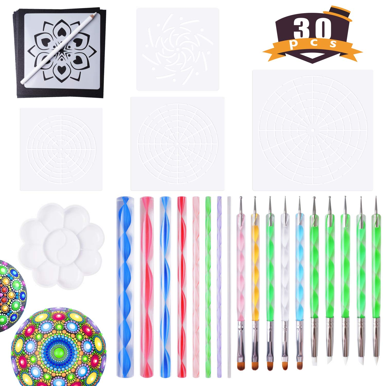 Mandala Tools for Painting Rocks Mandala Painting Dotting Stencil Dot Mandala Kit 30 PCS FittiDoll