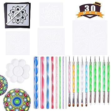 Mandala Herramientas para Pintura Rocks Mandala Pintura Dotación Plantilla Dotación Dotación Mandala Kit 30 PCS: Amazon.es: Juguetes y juegos