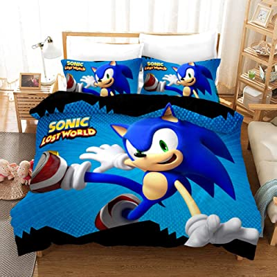 3D Sonic The Hedgehog Game Duvet Cover Set Cute Cartoon Kids Bedding Super Soft Microfiber Boys Girl Bed Set 3 Piece 1 Duvet Cover,2 Pillowcases, Twin/Full/Queen/King/California King, No Comforter: Home & Kitchen