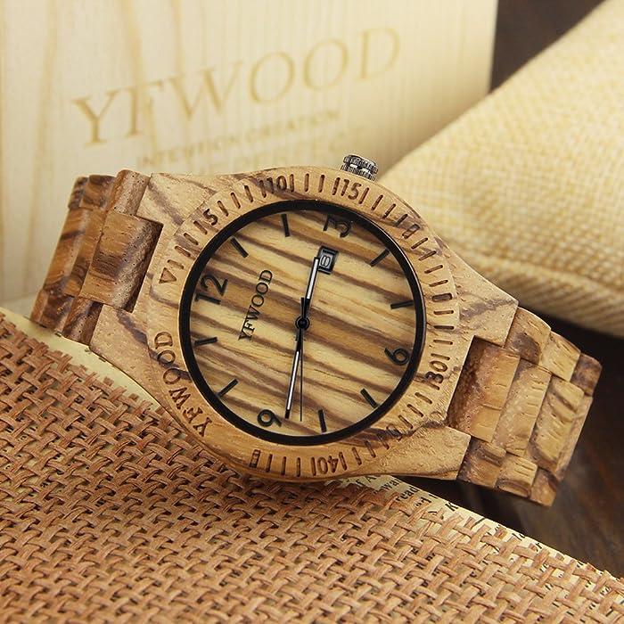 e8fba20d35 YFWOOD 木製腕時計 メンズに圧倒的な人気腕時計 優しい木の温もりを ...