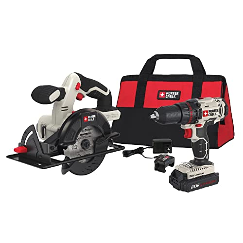 PORTER-CABLE 20V MAX Cordless Drill Combo Kit with Circular Saw, 2-Tool PCCK612L2