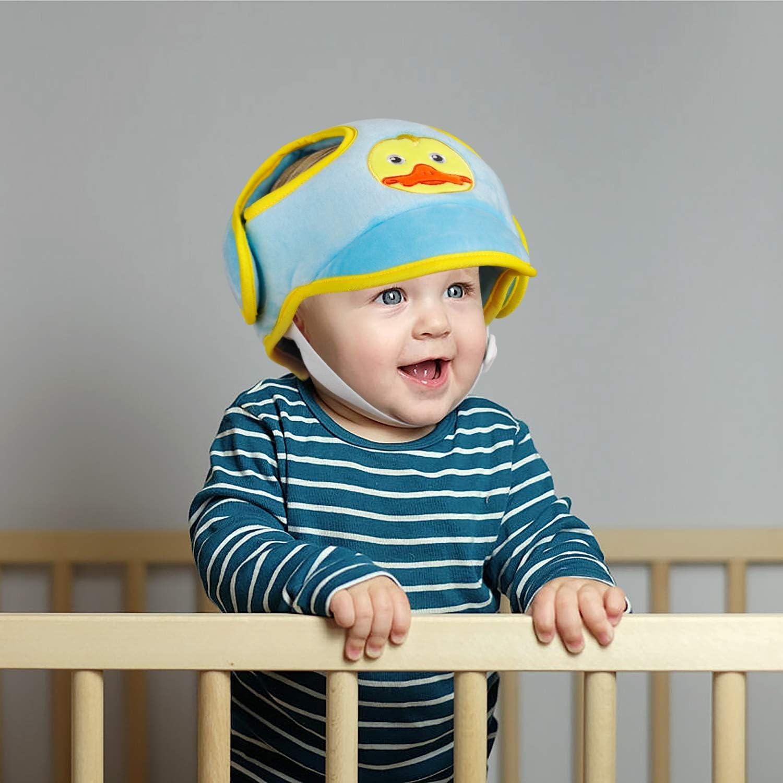 Bleu B/éb/é S/écurit/é Chapeau R/églable Protecteur de T/ête Capuchon Prot/ège-front de Anti Choc Harnais Casquette Casque de Protection pour Enfant Douce