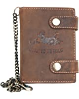 Men's Natural Genuine Leather Wallet with Metal Chain with Motorbike