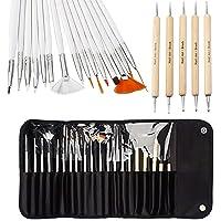 20pcs Nail Art Brushes Nail Art Design Painting Detailing Brushes & Dotting Pen Tool Kit Set -15 Brush + 5 Dotting Pen