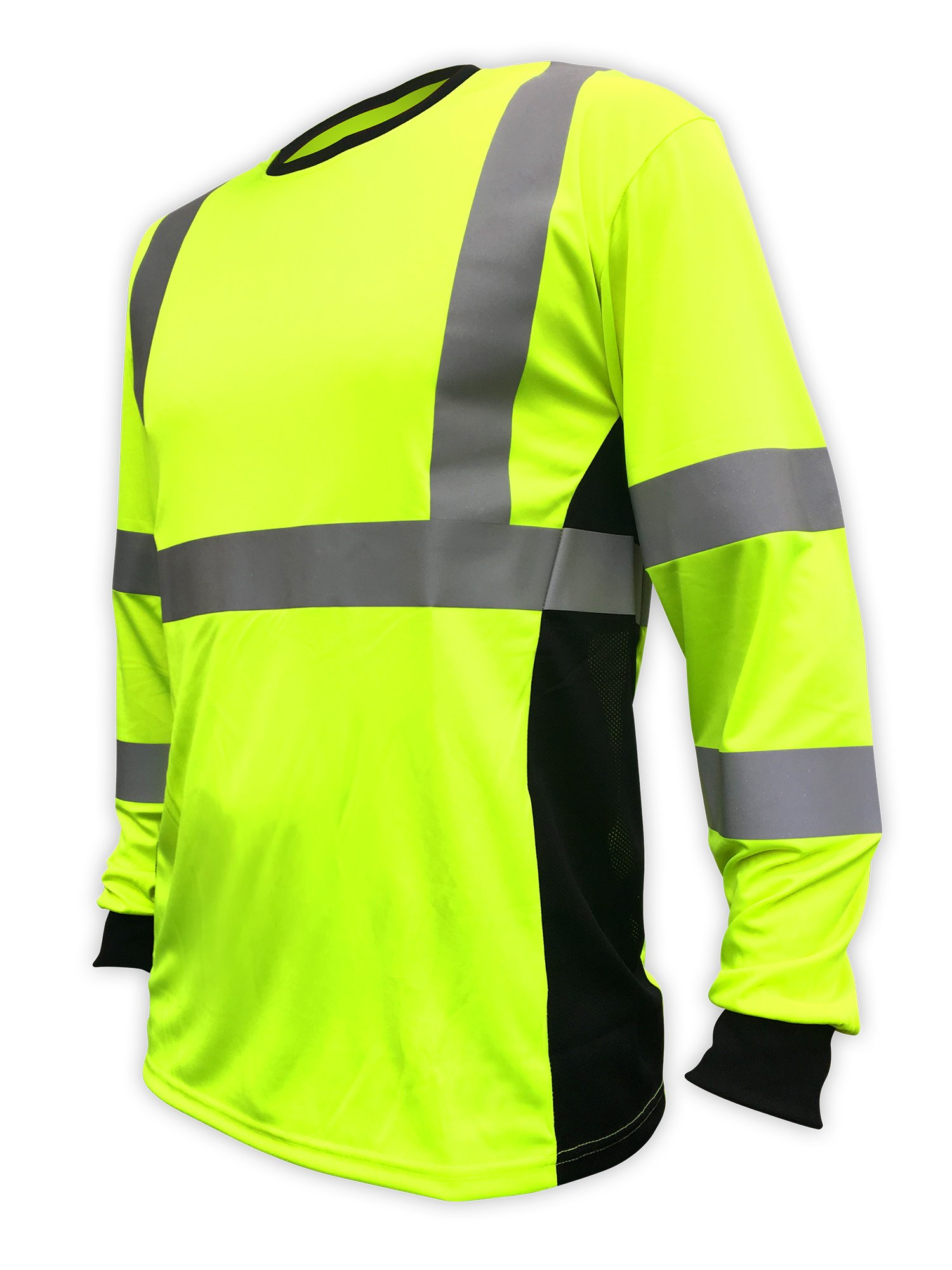 SafetyShirtz SS360 ANSI Class 3 Safety Long Sleeve Tee Yellow (Safety Green) w/Vented Sides S