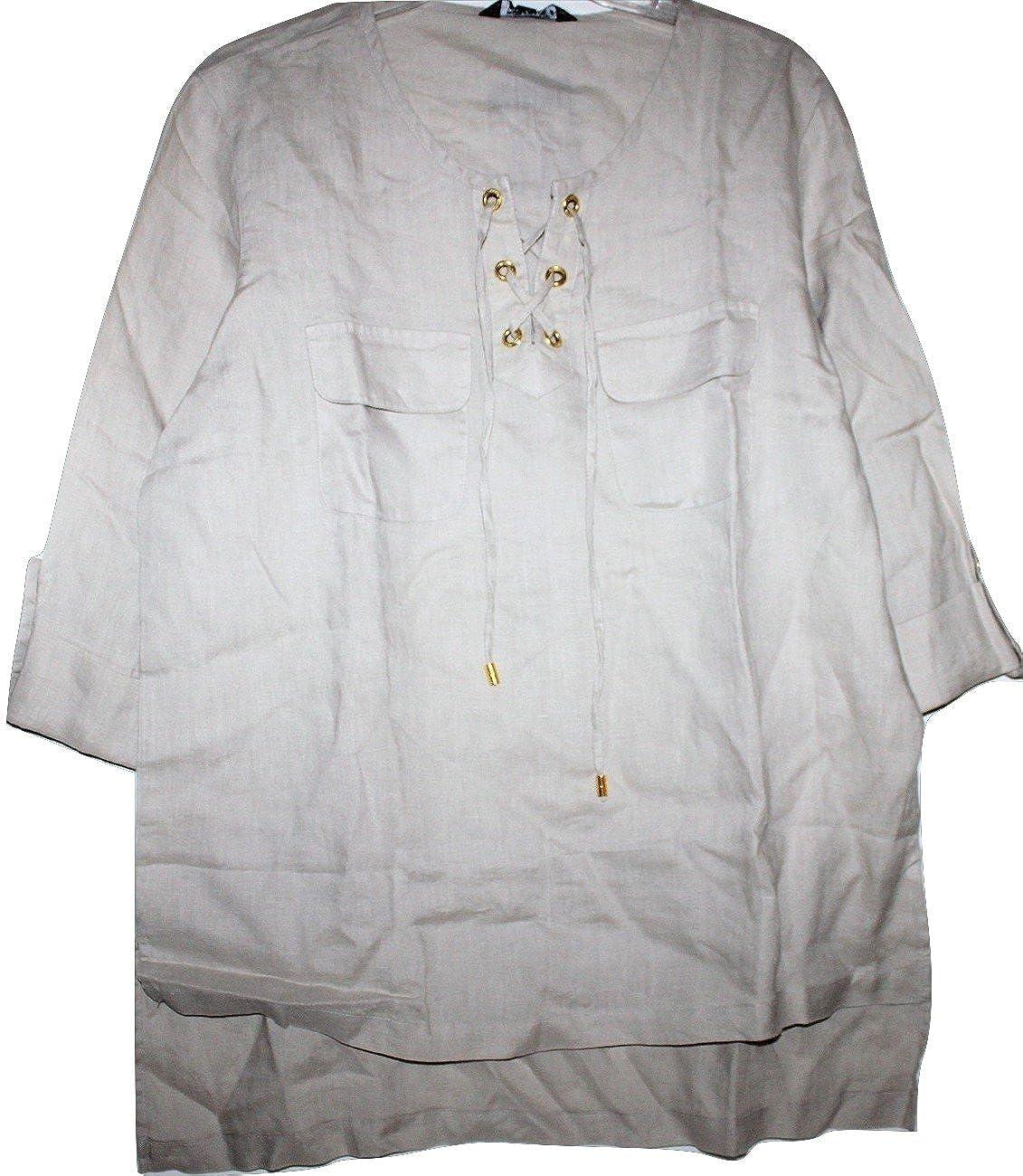 be0cd2cbe6 Top1  Ellen Tracy Company Women s Beige 100% Linen Tunic Top w  Roll   Tab  Sleeves