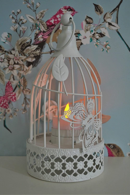 NEW VINTAGE SHABBY CHIC STYLE CREAM BIRD CAGE TEALIGHT LANTERN ORNAMENT