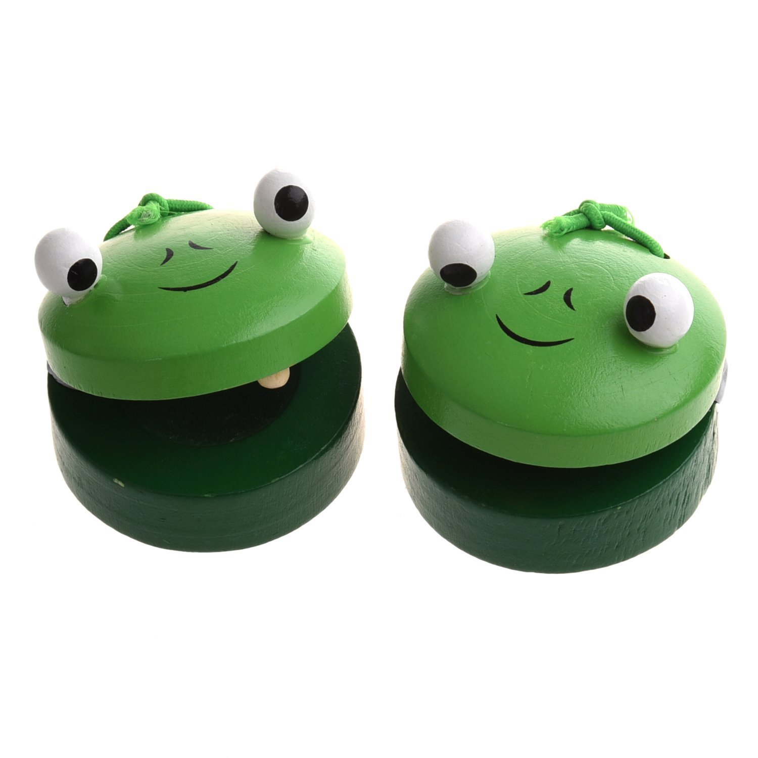 SODIAL(R) 1 Pair Round Wooden Frog Castanet Baby Musical Instrument Toy - Green SHOMAGT17155