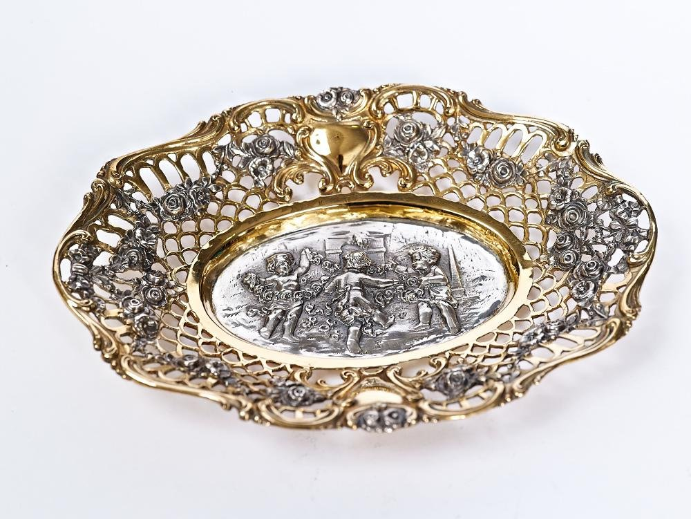 Silver plate bowl for sweets ''Dance of Angels''
