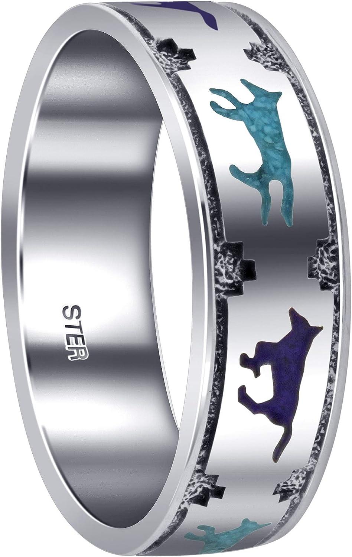 Turquoise & Lapis Lazuli Gemstone Southwestern Style Running Wolf 7mm Sterling Silver Wedding Band Ring
