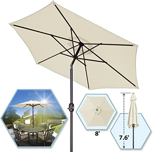 8 Parasol Patio New Garden Patio Umbrella Sunshade Market Outdoor-Ecru
