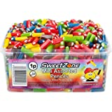 SweetZone 100% Halal Mini Assorted Liquorice Pencils with Fondant Filling - 600 Pieces (Mix of Strawberry, Blue Raspberry, Mixed Fruit and Apple)