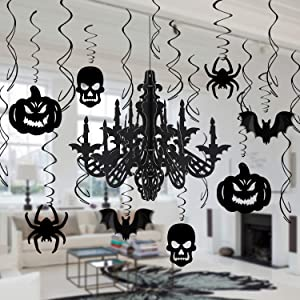 Halloween Haunted House Hanging Swirl Chandelier Decorations, Konsait Halloween Ceiling Wall Hanging Decorations, Chandelier Bat Pumpkin Creepy Spider Skull For Haunted House Yard Party Supplies