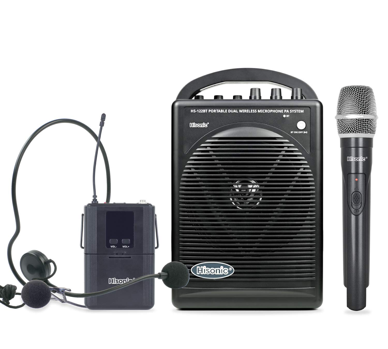Hisonic HS122BT-HL Portable and Rechargeable PA System with Dual UHF Wireless Microphones & Bluetooth Connection